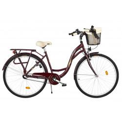 Rower miejski Margot 28'' Nexus 3 wiśniowy + kosz