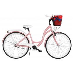 Rower miejski Milos 28'' S1 różowy + kosz