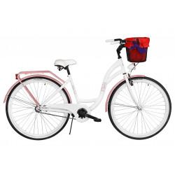 Rower miejski Milos 28'' S1 biało-różowy + kosz