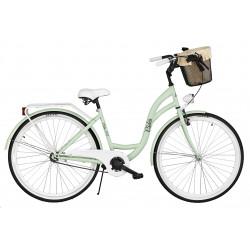 Rower miejski Milos 28'' S1 zielony + kosz