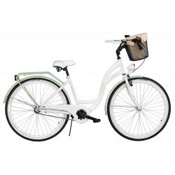 Rower miejski Milos 28'' S1 biało-zielony + kosz