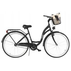 Rower miejski Milos 28'' S1 czarny + kosz