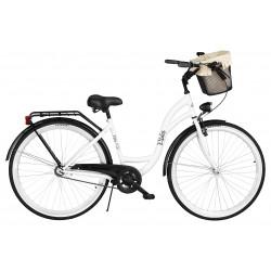 Rower miejski Milos 28'' S1 biało-czarny + kosz