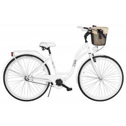 Rower miejski Milos 28'' S1 biały + kosz