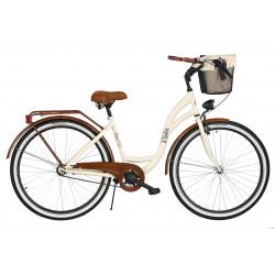 Rower miejski Milos 28'' S1 kremowo-brązowy + kosz