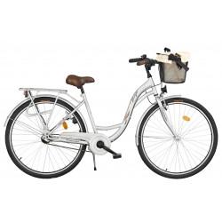 Rower miejski Margot 28'' Nexus 3 srebrny + kosz